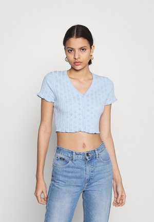 CROP WITH LETTUCE SHORT SLEEVES AND V NECK - T-shirt basique - baby blue