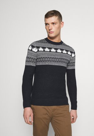 CREW NECK - Jumper - navy/grey