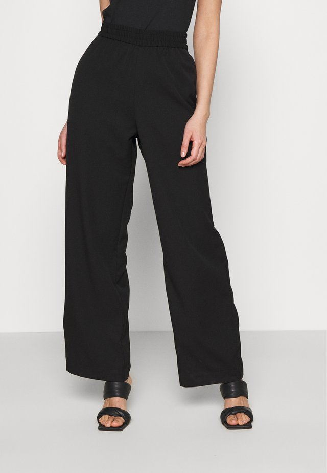 LEIKA TROUSERS - Kangashousut - black dark