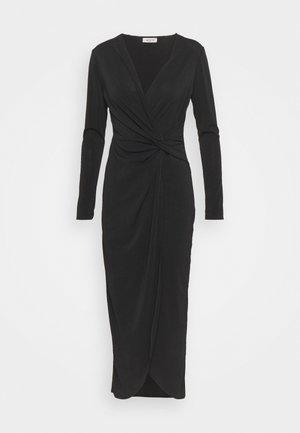 TWIST FRONT BODYCON DRESS - Pouzdrové šaty - black