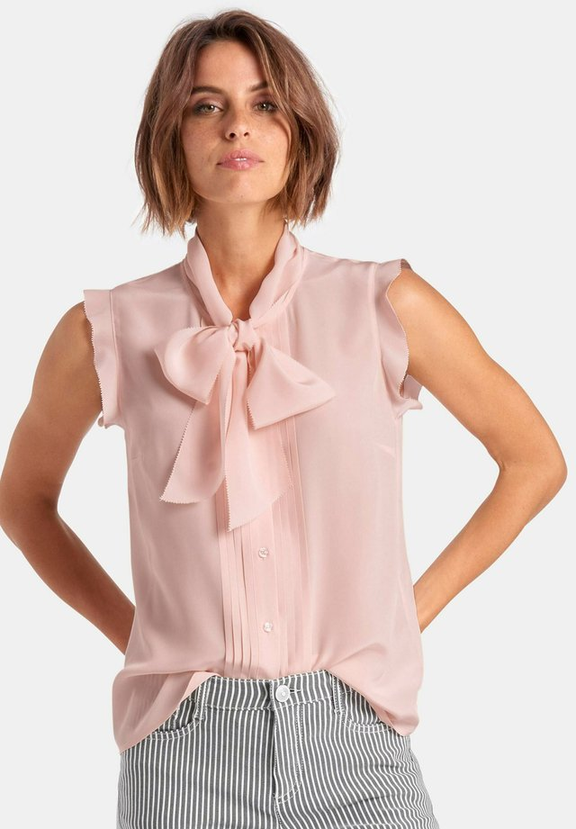 BLUSEN-TOP AUS 100% SEIDE - Button-down blouse - rose