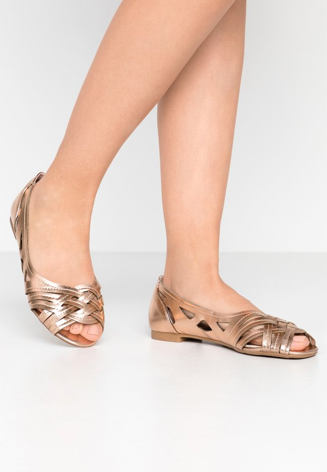 WIDE FIT PEARLENE  - Peeptoe ballet pumps - rosegold