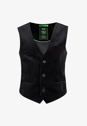 JONGENS VELVET - Waistcoat - black