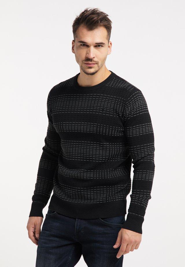 Pullover - schwarz dunkelgrau melange