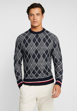 TIPPED TWO COLOR ARGYLE - Jumper - blue