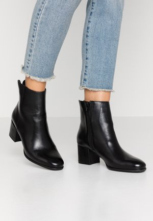 LEATHER BOOTIES - Stövletter - black