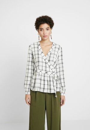 WRAP BOW PLAID - Blůza - white