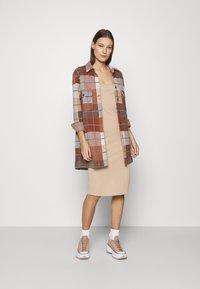 Abercrombie & Fitch - MIDI DRESS - Day dress - neutral brown - 1