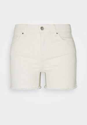 ONLBLUSH MID RAW - Denim shorts - ecru