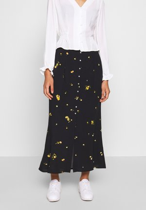 ONLALISA LIFE  MIDI SKIRT - Maxi skirt - black/yellow
