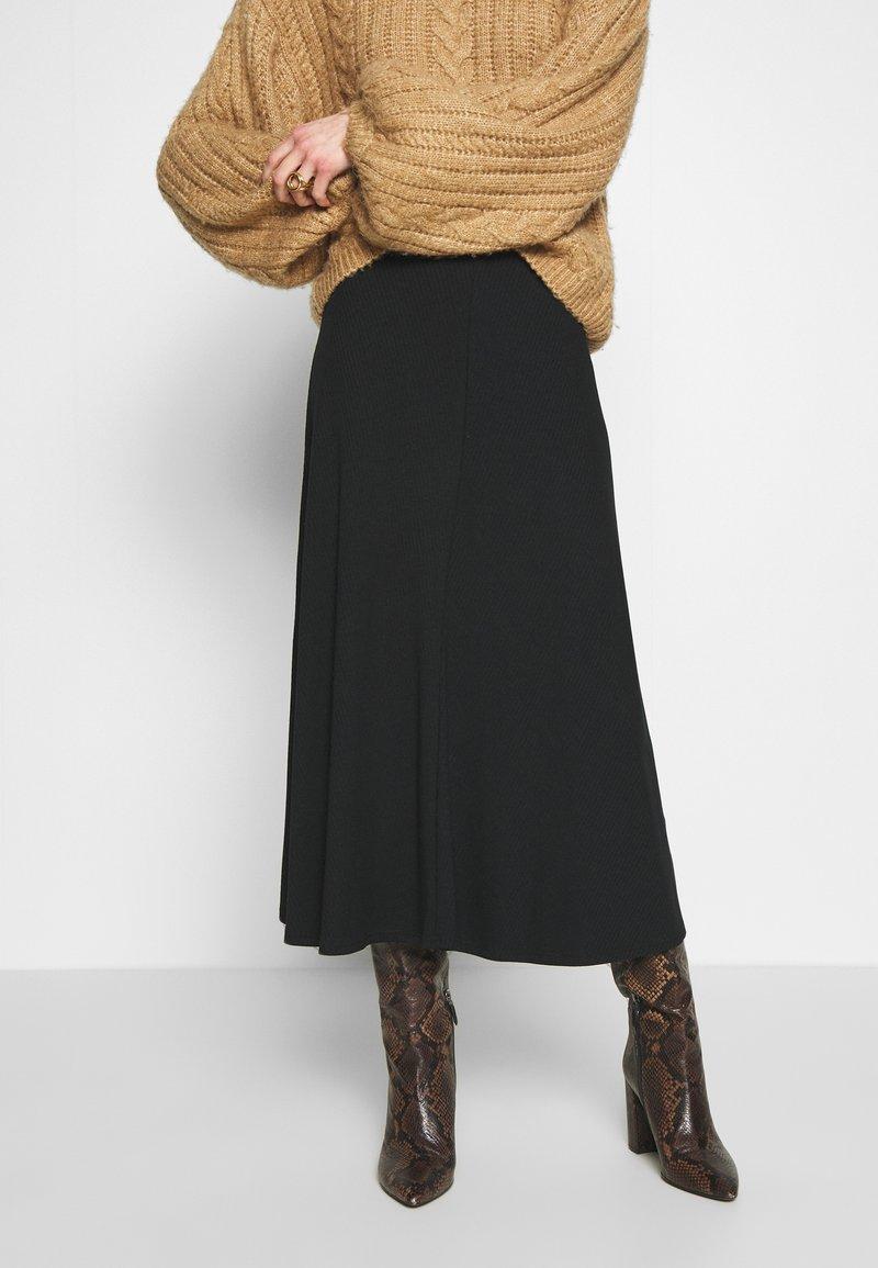Zign - BIAS CUT SKIRT  - A-line skirt - black