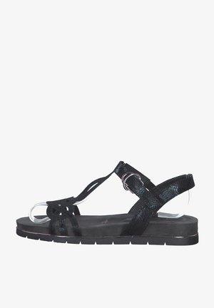Platform sandals - blk snake metallic