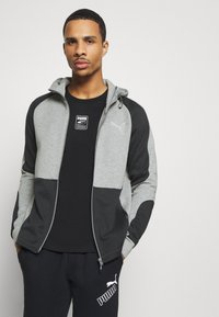 Puma - EVOSTRIPE HOODIE - Hoodie met rits - medium gray heather - 0