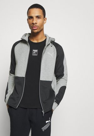 EVOSTRIPE HOODIE - Felpa aperta - medium gray heather