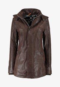 DNR Jackets - MIT KAPUZE UND VERDECKTEM REISSVERSCHLUSS - Leather jacket - dunkelbraun - 0