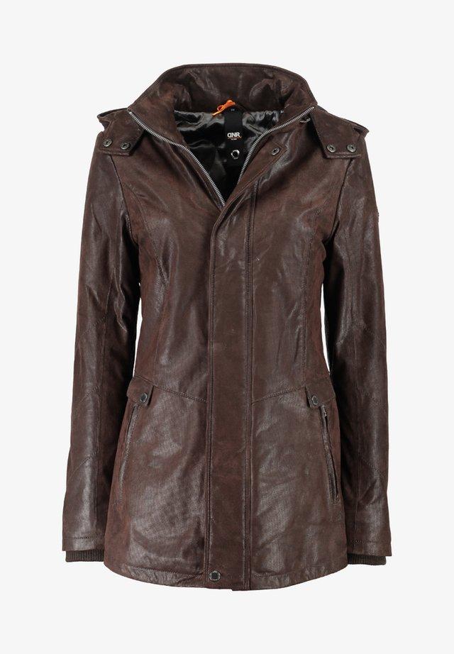 MIT KAPUZE UND VERDECKTEM REISSVERSCHLUSS - Leather jacket - dunkelbraun