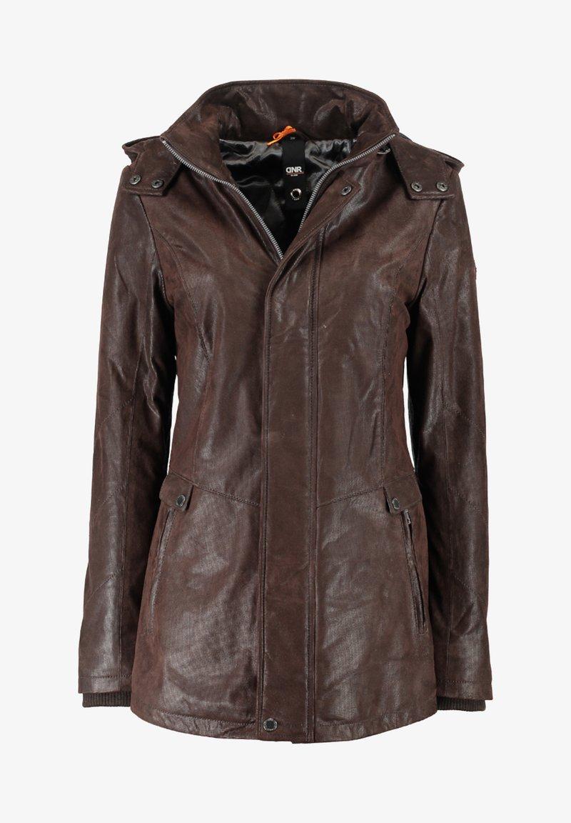 DNR Jackets - MIT KAPUZE UND VERDECKTEM REISSVERSCHLUSS - Leather jacket - dunkelbraun