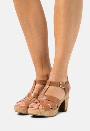 LEATHER - Platform sandals - cognac