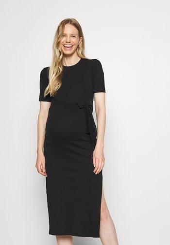 MATERNITY SPLIT SIDE - Žerzejové šaty - black