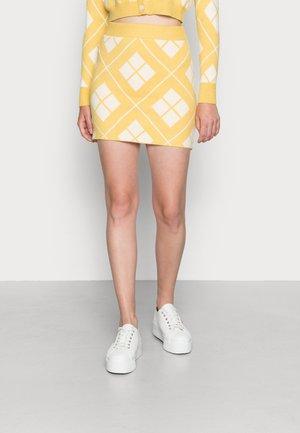 ARGYLE SKIRT - Pencil skirt - yellow cream