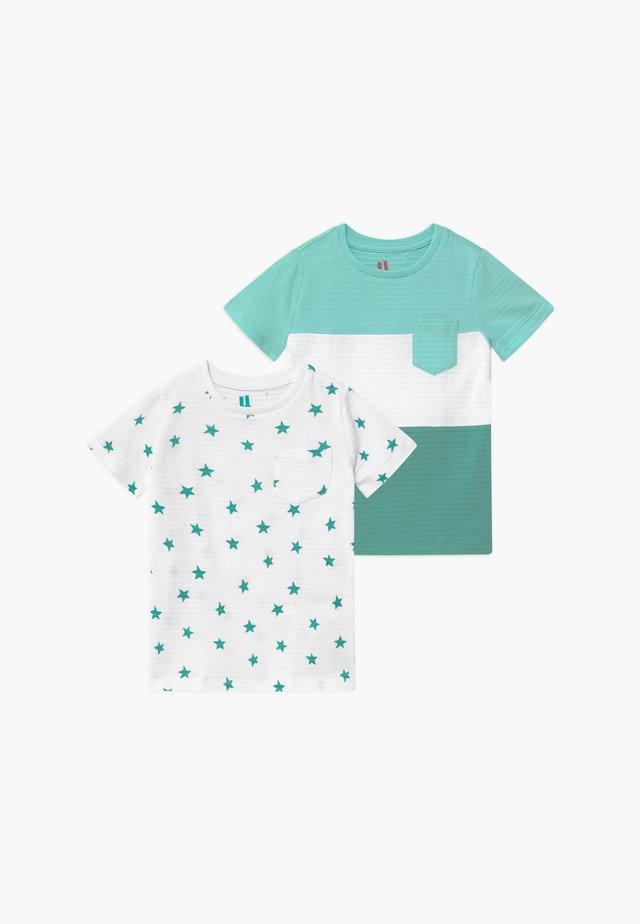 LOUIS TEXTURED TEE 2 PACK - T-shirt z nadrukiem - teal splice/whtie teal