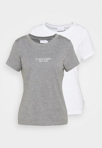 SLIM FIT 2 PACK - T-shirts med print - bright white/mid grey heather