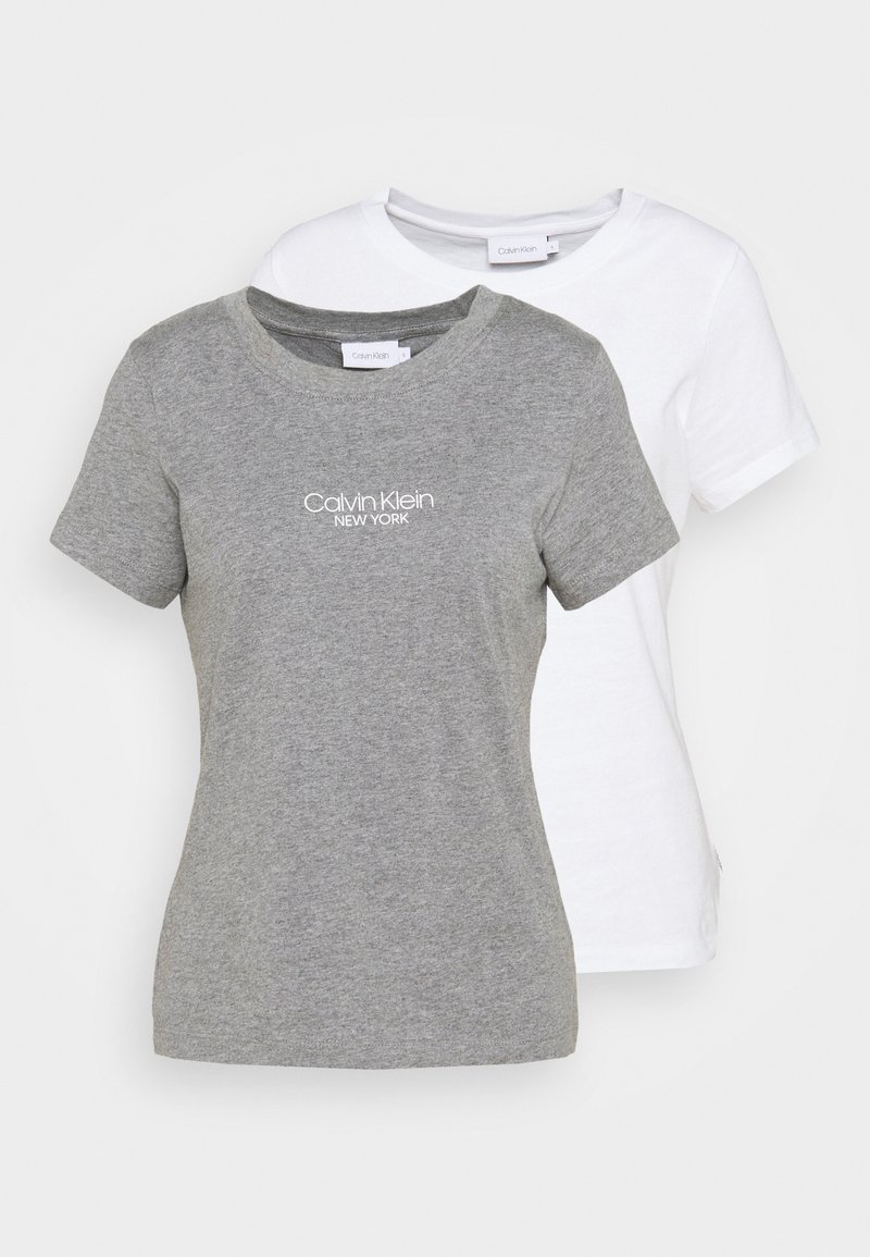 Calvin Klein - SLIM FIT 2 PACK - Triko spotiskem - bright white/mid grey heather