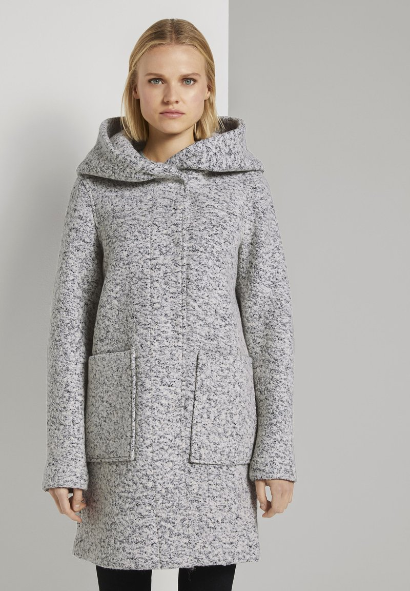 TOM TAILOR DENIM - BOUCLE COAT WITH HOOD - Klasický kabát - grey