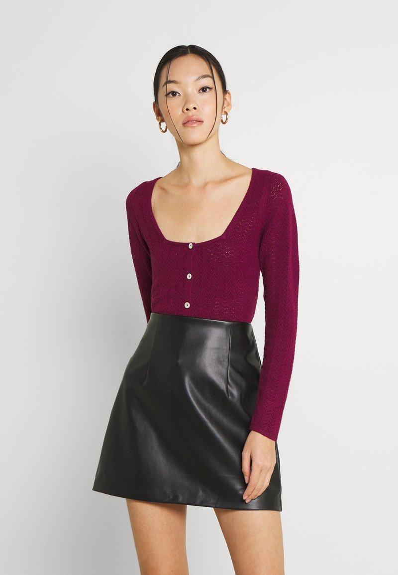 Fashion Union - ELISHA - Cardigan - burgundy