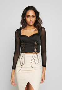 Missguided - LACE UP CORSET STYLE TOP - Langarmshirt - black - 0