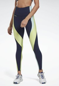 Reebok - LES MILLS® HIGH-RISE COLORBLOCK LUX LEGGINGS - Leggings - blue - 0