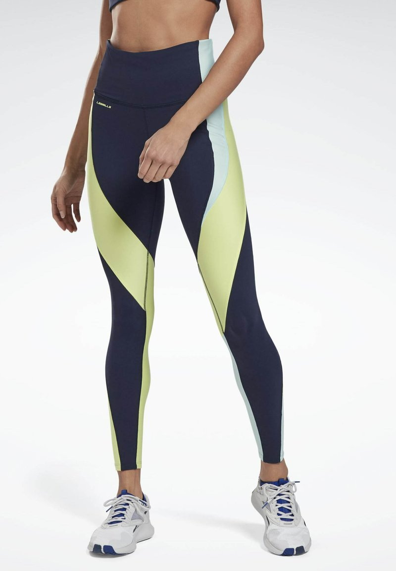 Reebok - LES MILLS® HIGH-RISE COLORBLOCK LUX LEGGINGS - Leggings - blue