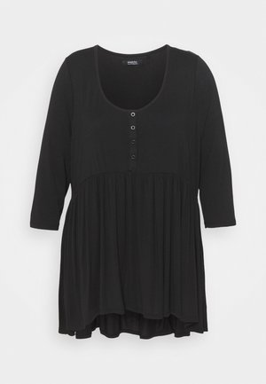 SLEEVE BUTTON DOWN TUNIC - Long sleeved top - black