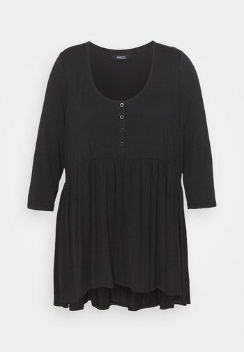 SLEEVE BUTTON DOWN TUNIC - Camiseta de manga larga - black