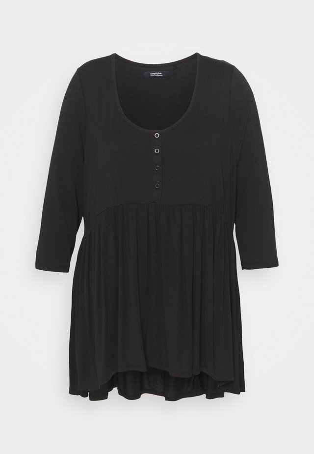SLEEVE BUTTON DOWN TUNIC - Topper langermet - black