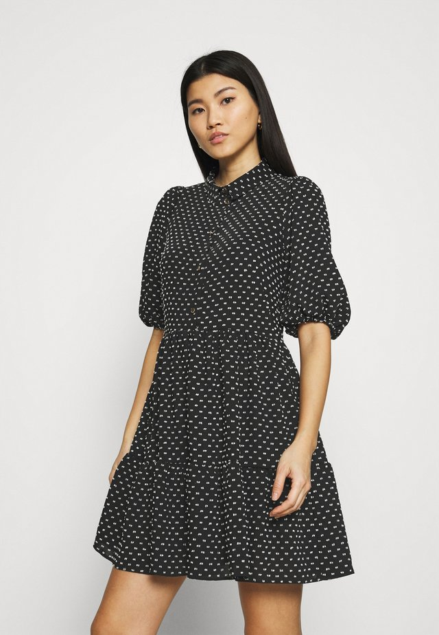 GATHERED DRESS - Shirt dress - black