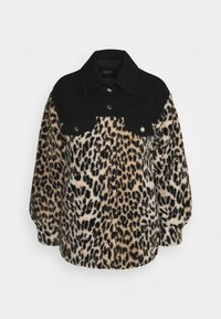 maje - BAMION - Denim jacket - noir/camel - 0