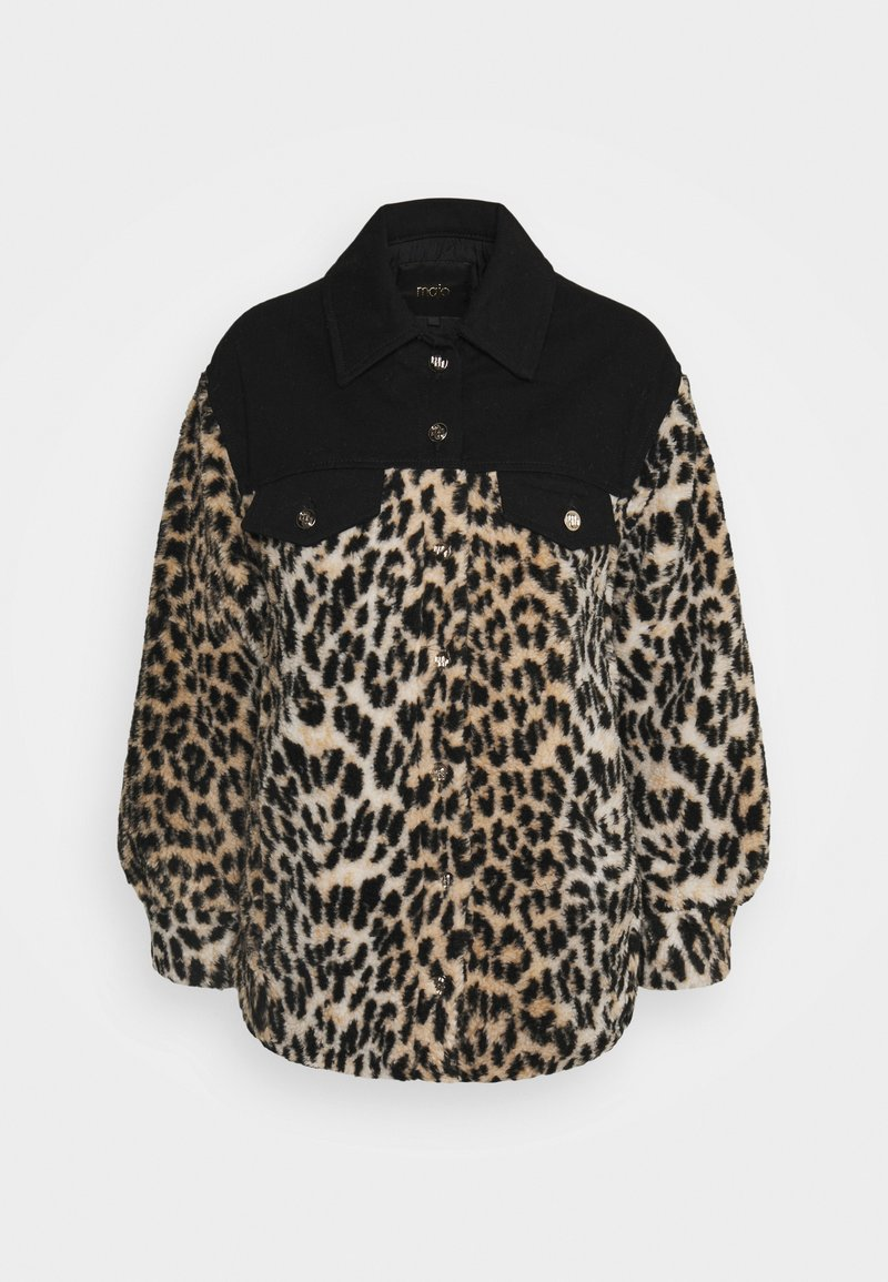 maje - BAMION - Denim jacket - noir/camel