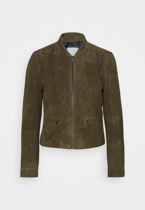 NADIA SLIM VARSITY - Leather jacket - army green