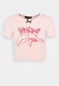 NEW girl ORDER - FACEMASK CHERUB CROP TEE - Printtipaita - pink - 0