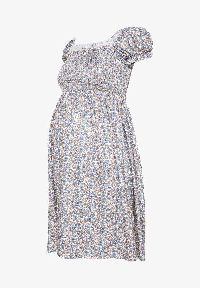 SHIRRED MINI DRESS - Vestito di maglina - blue