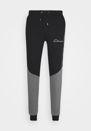 CONTRAST JOGGER WITH TAPING - Tracksuit bottoms - black