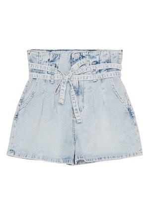 MIT GÜRTEL - Jeans Short / cowboy shorts - blue denim