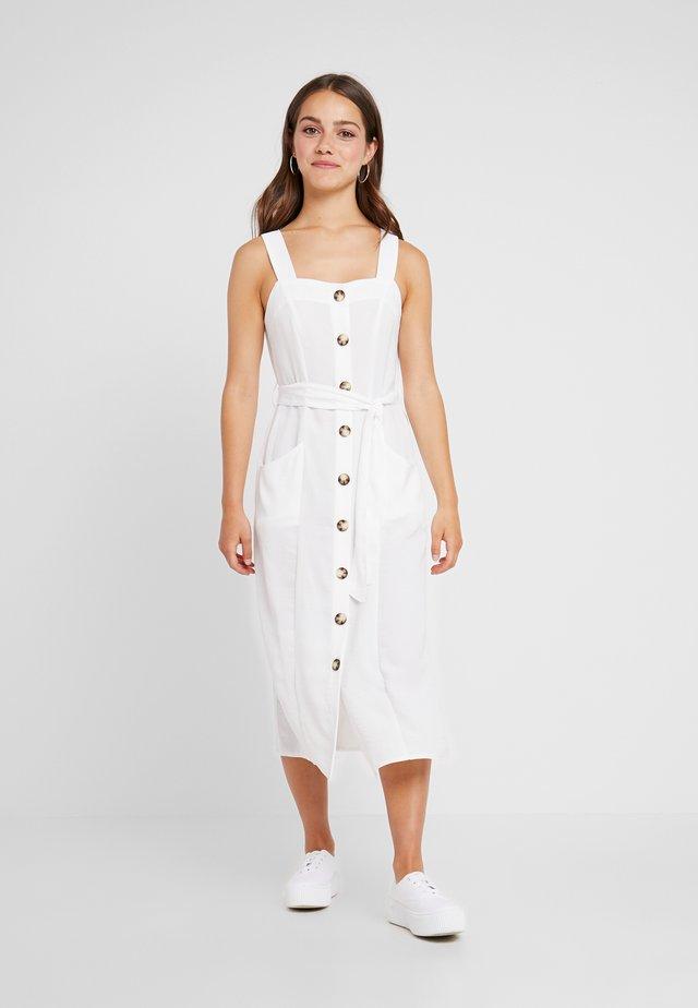 BUTTON FRONT MIDI DRESS - Vestido camisero - ivory