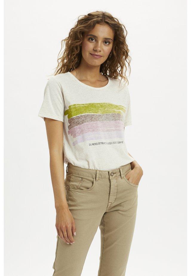 CRLEISHIA - T-shirt con stampa - oat melange