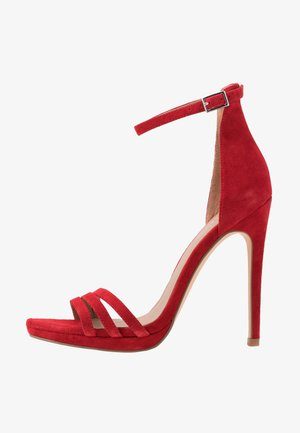 LEATHER - High heeled sandals - red