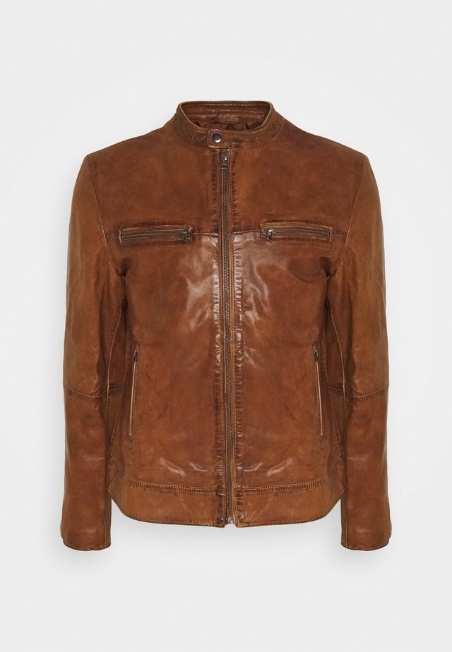 KYLL BIKER - Leather jacket - tabacco