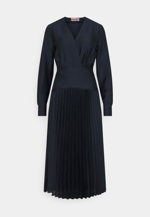 FEMININE DRESS WITH PLEATED SKIRT IN STRUCTURED QUALITY - Sukienka koktajlowa - night