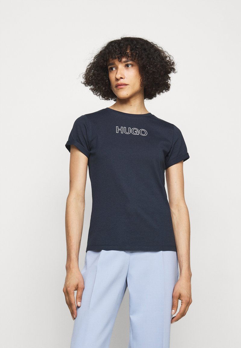 HUGO - THE SLIM TEE - Print T-shirt - open blue