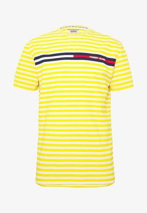 BRANDED STRIPE TEE - Print T-shirt - yellow/white
